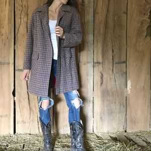 Vintage Houndstooth Wool Oversized Peacoat Coat